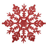 Red snowflake shape decoration isolted on white Stock Image