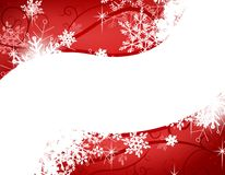 Red Snowflake Swoosh Background. A background illustration featuring a bred gradient  swoosh surrounded by swirling wisps and snowflakes Stock Images