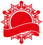 Red snowflake and tape. Christmas label template Stock Photos
