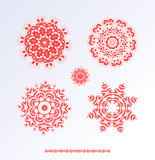 Red snowflakes and Christmas stars Royalty Free Stock Photo