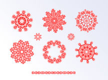 Red snowflakes and Christmas stars Royalty Free Stock Image