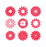 Red snowflakes and Christmas stars Royalty Free Stock Photography