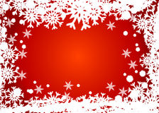 Red snowflakes frame. Christmas background. Frosted snowflakes over red Royalty Free Stock Photography