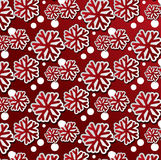 Red snowflakes seamless pattern Royalty Free Stock Photography