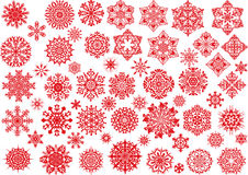 Red snowflakes set on white Stock Images