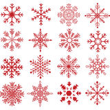 Red Snowflakes Silhouette Collections Royalty Free Stock Photo
