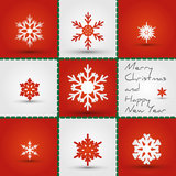 Red snowflakes square Royalty Free Stock Photography