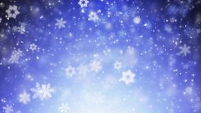 Blue snowflakes and stars falling seamless loop 4 k vector illustration