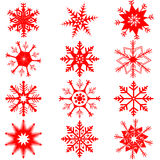 Red snowflakes on white background Royalty Free Stock Photos