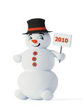 Red snowman 2010. 3d cute red snowman with label 2010 stock illustration