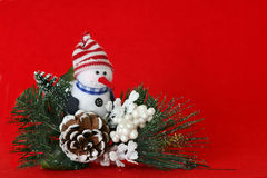 Red Snowman Background. Horizontal christmas snowman on red background. Space for copy Stock Images
