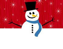 Red Snowman Border. An illustration featuring a snowman halved into a top positioned border Stock Images