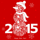 Red snowman new year. Vector illustration Stock Photo