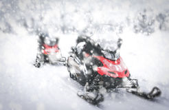 Red Snowmobile in Finnish Lapland Stock Photography
