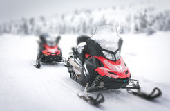 Red Snowmobile in Finnish Lapland Stock Photos