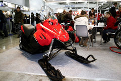 Red snowmobile Itlan Stock Photos