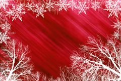 Red snowy background. Holiday background with stars stock illustration