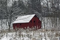Red Snowy Barn Stock Images