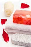 Red soap towel Stock Photos