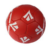 Red soccer ball. On the white background. (isolated Stock Photo