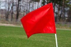 Red soccer flag Stock Image
