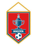 Red soccer pennant  white Stock Photography