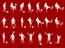 Red Soccer Player Silhouette Collection. 