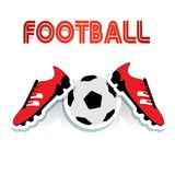 Red soccer shoes and soccer ball, and football inscription, cart. Oon on white background, vector Royalty Free Stock Photos