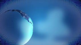 Red social cada vez mayor a través del mundo, globo de la tierra que hace girar en fondo azul stock de ilustración