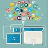 Red social, comunicación en el global stock de ilustración