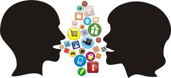 Red social - conversación moderna Imágenes de archivo libres de regalías