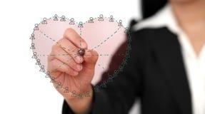 Red social en amor Foto de archivo libre de regalías