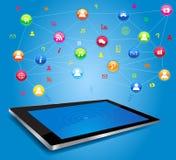 Red social en la tableta digital Fotos de archivo