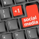 Red social media buttons on keyboard Stock Images