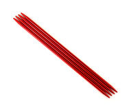 Red sock needles Royalty Free Stock Photo