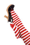 Red socks foot on shoe Royalty Free Stock Image
