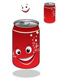 Red soda can with bubbles and a happy smile Royalty Free Stock Photography