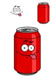 Red soda can with a goofy comical look Stock Photo