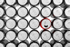 Red soda can standing out Stock Photography