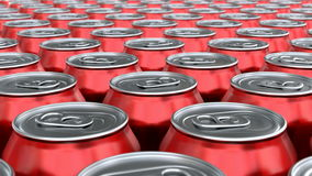 Red soda cans 3D animation seamless loop stock video footage