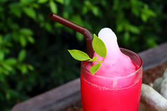 Red soda water in the garden. Beverage Red soda water in the garden Stock Images