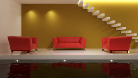 Red Sofa. In Living Room 3D Rendering vector illustration