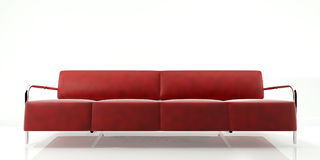 Red Sofa. Red Leather Sofa 3D Rendering Isolated in White Background Royalty Free Stock Photos