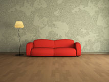 Red sofa. Room interior with a red sofa stock illustration