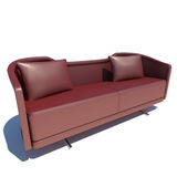 Red Sofa 3D Rendering Stock Images