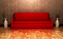 Red Sofa. With 2 vases Stock Images