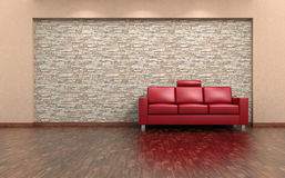 Red Sofa And Stone Wall Interior Royalty Free Stock Image