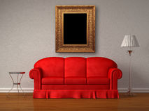 Red sofa with antique frame, table and stand lamp. In white minimalist interior stock illustration