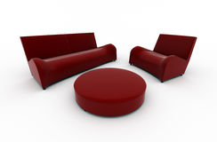 Red sofa and armchair Royalty Free Stock Photos
