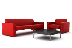 Red sofa and armchair with table isolated on white Stock Images